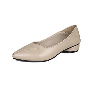 voordelige Damesinstappers & loafers-Dames Loafers & Slip-Ons Lage hak Gepuntte Teen PU minimalisme Herfst Zwart / Rood / Beige