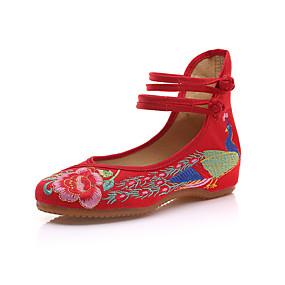 voordelige Damesschoenen met platte hak-Dames Platte schoenen Platte hak Ronde Teen Dierenprint Canvas Vintage / Chinoiserie Lente & Herfst / Lente zomer Zwart / Groen / Rood