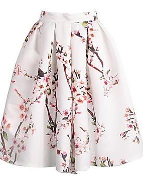 ieftine More-Pentru femei Linie A Vintage Mătase Fuste - Floral Imprimeu