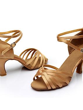 povoljno Vjenčanja i eventi-Žene Svila Cipele za latino plesove / Cipele za salsu Kopča / Ukrasna trakica Sandale / Tenisice Potpetica po mjeri Moguće personalizirati Srebrna / Smeđa / Zlatna / Seksi blagdanski kostimi / EU40