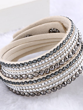88d926d4a Women's Crystal Wrap Bracelet Leather Bracelet Layered Stacking Stackable  Cheap Ladies Luxury Unique Design Fashion Multi Layer Leather Bracelet  Jewelry ...