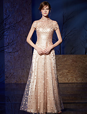 cheap Sample Dresses Sale-A-Line Illusion Neckline Floor Length Organza Charmeuse Prom / Formal Evening Dress with Sequin Embroidery by LAN TING Express
