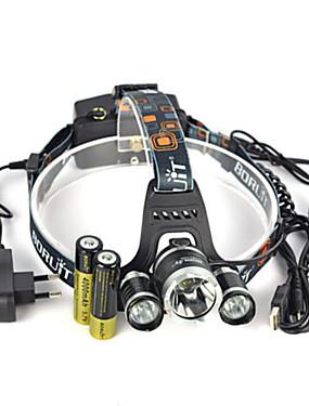 זול ספורט ושטח-פנסי ראש אורות בטיחות פנס קדמי לאופניים LED LED Emitters 13000 lm 1 מצב תאורה עם סוללות ומטענים ראש הזווית מתאים לרכבים קל במיוחד מחנאות / צעידות / טיולי מערות שימוש יומיומי רכיבה על אופניים