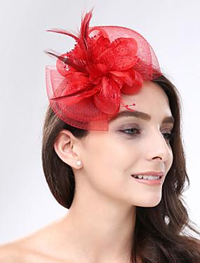 お買い得  ウェディンストア-羽毛 / ネット フラワー - 魅力的な人 / 帽子 1個 結婚式 / パーティー かぶと