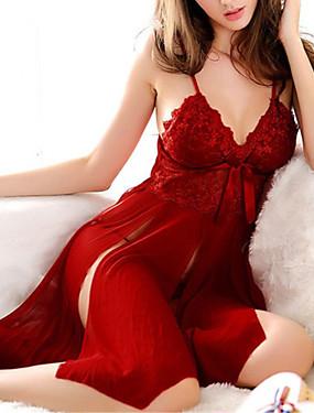 ieftine 70% OFF-Pentru femei Dantelă Super Sexy Babydoll & Slip / Lenjerie din Dantelă / Costume Pijamale Cadou Mată / În V