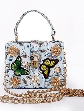 economico MariagraziaCeraso-Per donna Sacchetti PU Tote Perle / Perle di imitazione / Floreale Pop art Blu chiaro