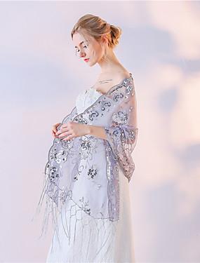 ราคาถูก งานแต่งงาน-Tulle งานแต่งงาน / Party / Evening Women's Wrap With ลูกไม้ ผ้าคลุมไหล่