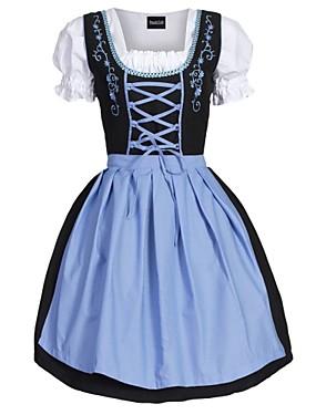 billige Leker og hobbyer-Oktoberfest Dirndl Trachtenkleider Dame Kjole Forkle bayerske Kostume Grønn Blå Rosa
