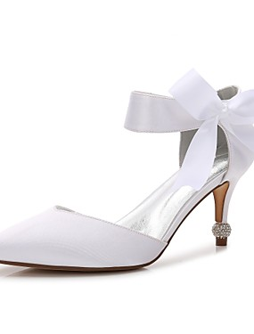 cheap Weddings & Events-Women's Satin Spring / Summer Comfort / D'Orsay & Two-Piece / Basic Pump Wedding Shoes Kitten Heel / Cone Heel / Low Heel Pointed Toe Bowknot / Satin Flower / Lace-up Blue / Champagne / Ivory