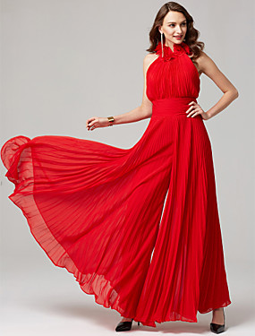 cheap Weddings & Events-Jumpsuit Halter Neck Floor Length Chiffon Formal Evening Dress with Pleats by TS Couture®