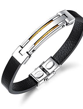 voordelige ID Armband-Heren Bangles ID-armband Lederen armbanden Modieus Leder Armband sieraden Goud / Zwart / Zilver Voor Dagelijks Uitgaan