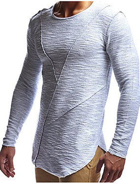 cheap Weekly Deals-Men's Daily Sports Basic / Street chic Cotton Slim T-shirt - Solid Colored Round Neck White XL / Long Sleeve / Long
