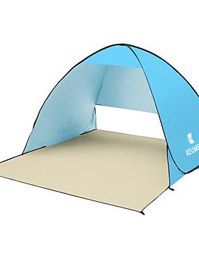 رخيصةأون رياضة والخارجية-KEUMER 2 الأشخاص خيمة للشاطئ في الهواء الطلق خفة الوزن مقاوم للأشعة فوق البنفسجية التنفس إمكانية طبقة واحدة خيمة التخييم 1500-2000 mm إلى صيد السمك شاطئ Camping / Hiking / Caving فضية الشريط