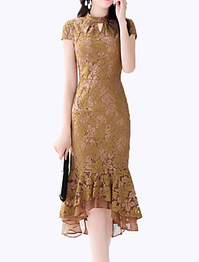 15c177b90db2 Γυναικεία Μεγάλα Μεγέθη Εξόδου Βίντατζ Κομψό στυλ street Λεπτό Θήκη Φόρεμα  - Μονόχρωμο