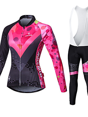 cheap Sports & Outdoors-Malciklo Women's Long Sleeve Cycling Jersey with Bib Tights - White / Black Bike Tights / Clothing Suit, Breathable, 3D Pad, Quick Dry Coolmax®, Lycra Patchwork / High Elasticity / Plus Size