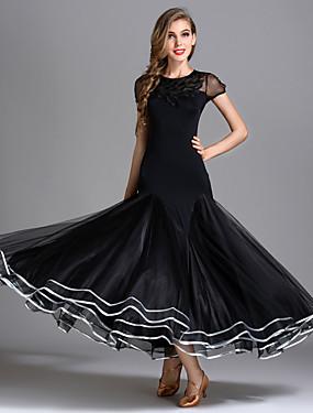 248d39df84 Standardní tance Šaty Dámské Výkon Jemné hedvábí   Tyl   Ledové hedvábí  Nabírání Krátký rukáv Vysoký Šaty