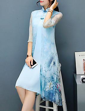 47951dafca1c Γυναικεία Μεγάλα Μεγέθη Πάρτι Κινεζικό στυλ Εκλεπτυσμένο Θήκη Φόρεμα -  Φλοράλ