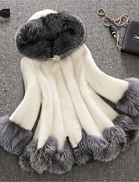 billige Ruxandra Loana-Dame Vinter Store størrelser Lang Faux Fur Coat, Fargeblokk Hvit Med hette Langermet Fuskepels Hvit / Svart