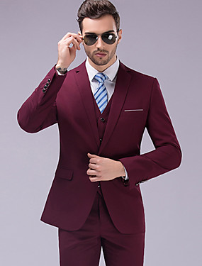 abordables La Tienda de Boda-Un Color A Medida Poliéster Traje - Muesca Recto 1 botón / trajes