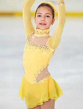 cheap Sports & Outdoors-Figure Skating Dress Women's Girls' Ice Skating Dress Daffodil Spandex High Elasticity Competition Skating Wear Handmade Jeweled Rhinestone Long Sleeve Ice Skating Figure Skating