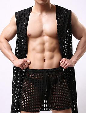 Недорогие Мужские пижамы и халаты-Муж. Костюм Ночное белье - Сетка Однотонный
