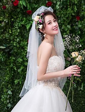 7273c8ffe6e7 Μίας Βαθμίδας Δαντέλα Πέπλα Γάμου Πέπλα ως τον αγκώνα με Ψεύτικο  Μαργαριτάρι Δαντέλα / Τούλι