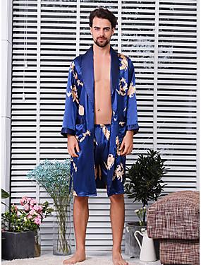 baratos Roupões & Pijamas para Homens-Homens Decote em V Profundo Conjunto Pijamas Bordado