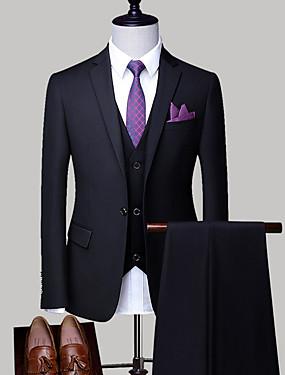abordables Costumes & Blazers Homme-Homme Grandes Tailles costumes, Couleur Pleine Col de Chemise Polyester Gris Clair / Bleu royal / Lavande XXL / XXXL / XXXXL