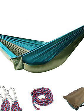 cheap Sports & Outdoors-Camping Hammock Double Hammock Outdoor Portable Ultra Light (UL) Breathability Parachute Nylon with Carabiners and Tree Straps for 2 person Hunting Fishing Hiking Green+Gray Blue+Pink Rose Pink / Blue