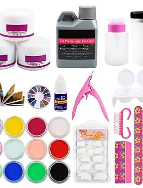 billige Neglesett-akryl nagelsett akryl alt for manikyr pedikyr verktøy sett for negler kit 3pcs akryl pulver neglelakk pulver kunst