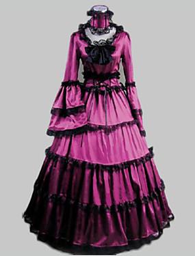billige Leker og hobbyer-Rokoko Victoriansk 18. århundre Ruffle Dress Kjoler Party-kostyme Maskerade Dame Kostume Lilla Vintage Cosplay Satin Fest Skoleball Langermet Gulvlang Lang Lengde Ballkjole