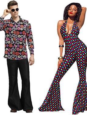 billige Leker og hobbyer-Hippie Disco Retro / vintage 1960erne Hippie 1970erne disco Drakter Herre Dame Par Kostume Lilla / Regnbue Vintage Cosplay Bomull Ermeløs