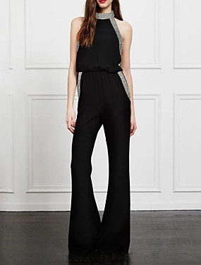 billige Jumpsuits til damer-Dame Grunnleggende Svart Kjeledresser, Ensfarget Paljetter M L XL