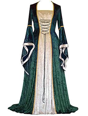 billige Leker og hobbyer-Retro / vintage Kostymer i middelalderstil Kjoler Dame Kostume Rød / Grønn / Blå Vintage Cosplay Fløyel Fest Skoleball Langermet Gulvlang Lang Lengde