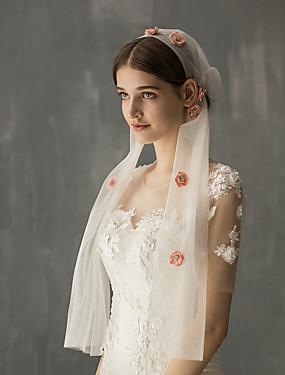 voordelige De Bruiloftswinkel-Eénlaags Vintage Style / Zoet Bruidssluiers Elleboogsluiers met Verspreide sierstenen in bloemenmotief stijl Tule