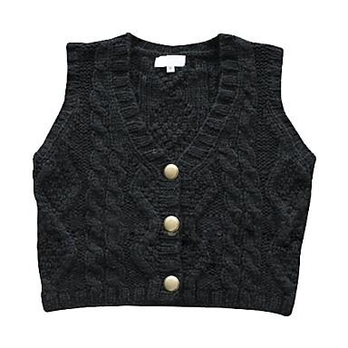 v-udskæring metalknapper vest kvinders sweater (1002al0