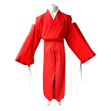 Inspireret af InuYasha Inu Yasha Anime Cosplay Kostumer Cosplay Kostumer Kimono Ensfarvet Langærmet Top Hakama bukser Kimono Frakke Til