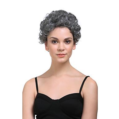 Capless korte hoogwaardig synthetisch natuurlijke uitstraling grijs met wit krullend haar pruik