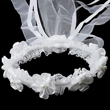 cetim / renda com imitação de pérolas headwreath menina de casamento flor