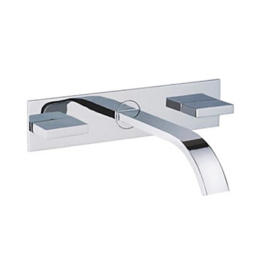 Bathroom Sink Faucet Waterfall Chrome Wall Mounted Three