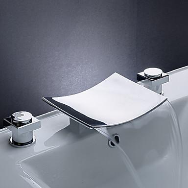 Nykyaikainen Kolmiosainen Vesiputous Keraaminen venttiili Kolme reikää Kaksi kahvaa kolme reikää Kromi, Kylpyhuone Sink hana