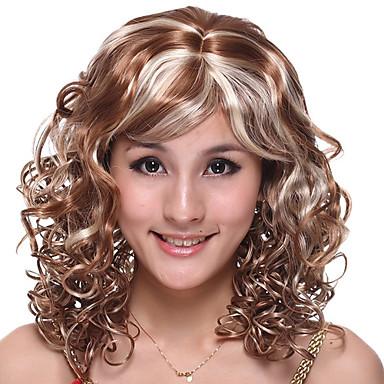 capless lang høj kvalitet syntetisk brun med lys blonde krøllet hår paryk