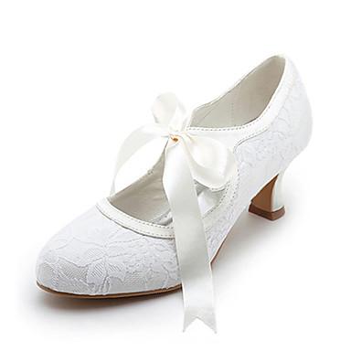 a80622c55e77 Women s Satin   Stretch Satin Spring   Summer Mary Jane Spool Heel Ribbon  Tie   Lace White   Ivory   Wedding   EU42