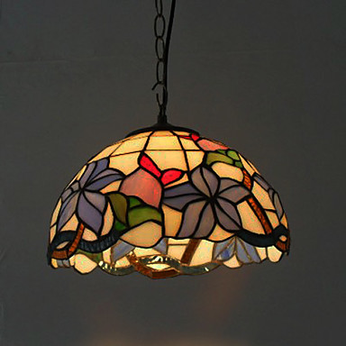 40W Pendant Light in Tiffany Style - Floral Patterned Lampshade