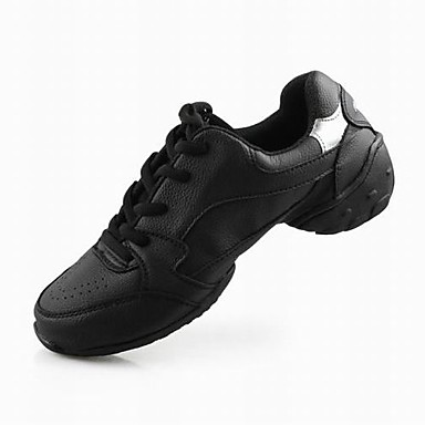 Men's Women's Dance Sneakers Modern Ballroom Leather Sneaker Lace-up Low Heel Black