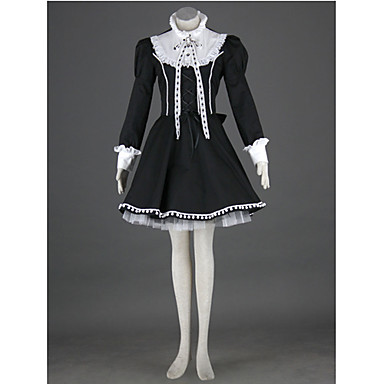 Gothic Lolita Dress Princess Punk Women's Dress Cosplay Long Sleeves Medium Length