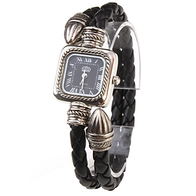 Women's Quartz Analog Black PU Rope Band Bracelet Watch Cool Watches Unique Watches