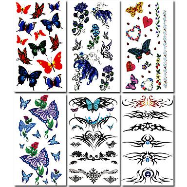 6 buc fluture și a crescut tatuaj temporar mixt