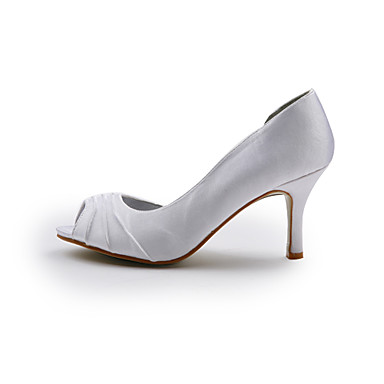 Satin Mariage Chaussures Rouge Printemps Ivoire Argent Talon Ruché 00164771 Aiguille Eté dr6Srq
