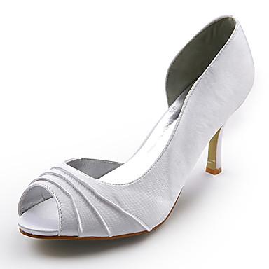 נשים נעליים משי אביב קיץ סתיו חורף עקבים עקב סטילטו קפלים עבור חתונה לבן
